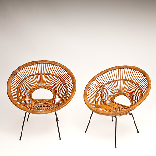 Pair of rattan hoop chairs