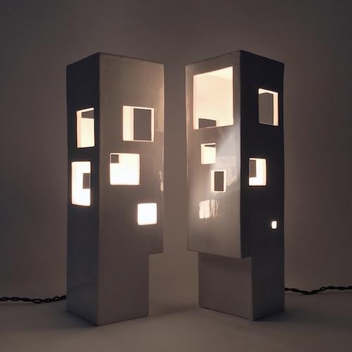 Frédéric Bourdiec - Paire de lampes architecturales