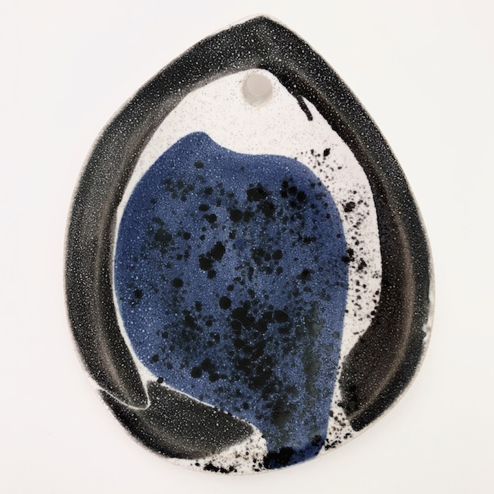 Mado Jolain - Ceramic Fish Bowl Glazed in White, Blue and Grey