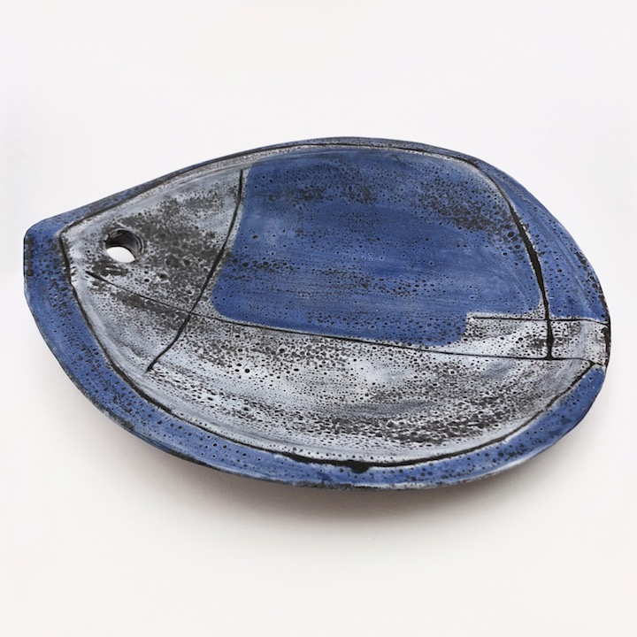 Mado Jolain - Ceramic Fish Bowl Glazed in Blue