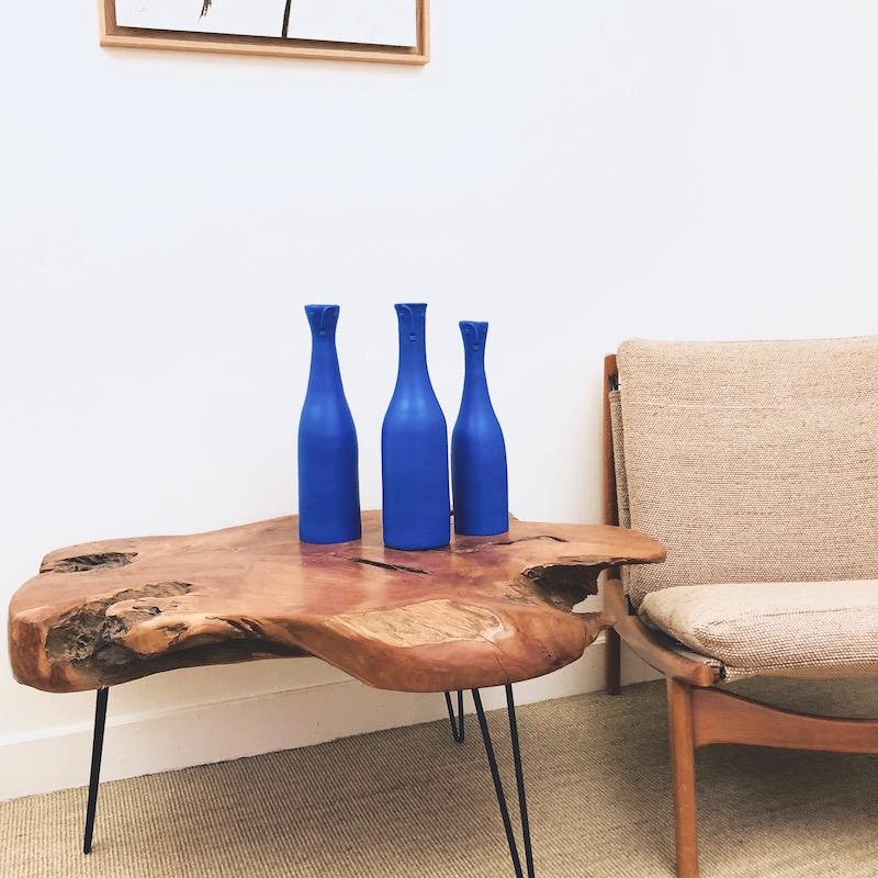 DaLo - Set of 3 Ceramic Blue Bottles