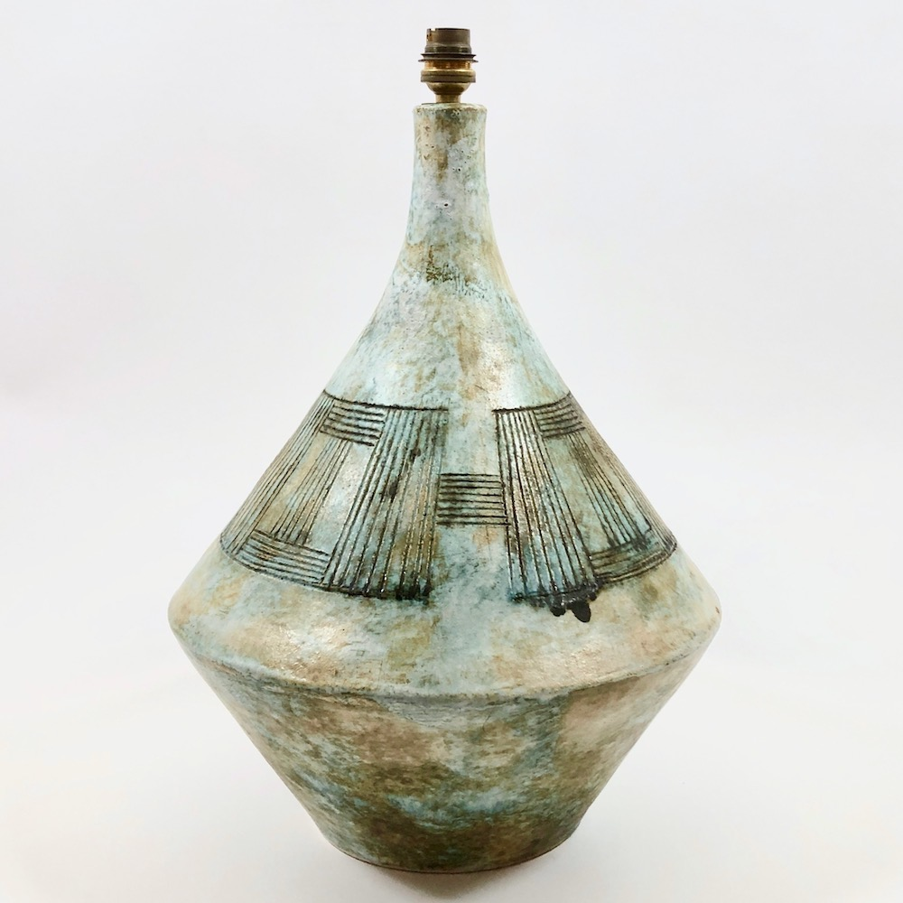 2 Potiers - Pied de lampe de forme toupie
