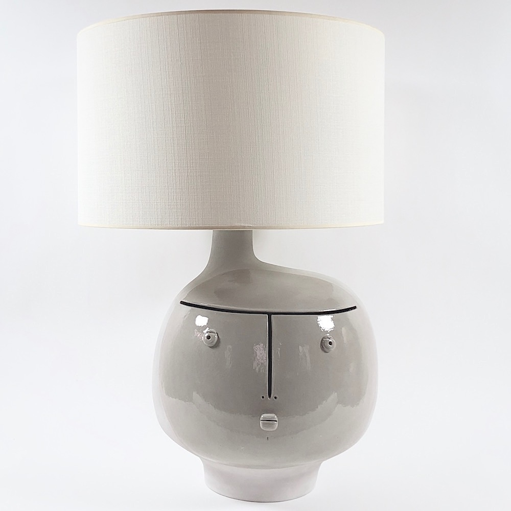 DaLo - Ceramic Lamp Base, half glazed in grey