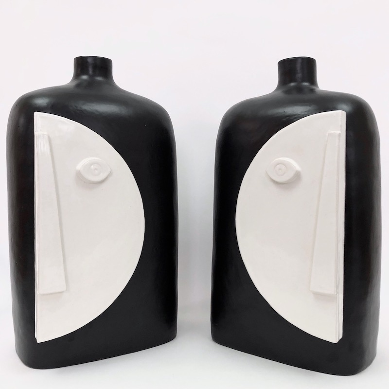 DaLo - Large Pair of Ceramic Table Lamp Bases, Moon
