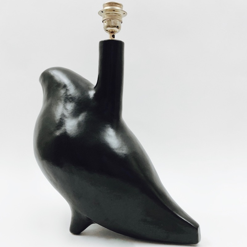 DaLo - Black Ceramic Lamp Base, Bird Shaped