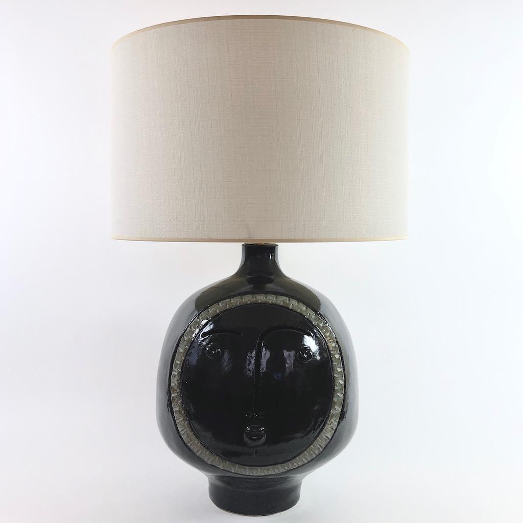 DaLo - Grand pied de lampe noir brillant au médaillon