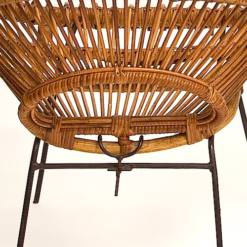 Pair of rattan hoop chairs