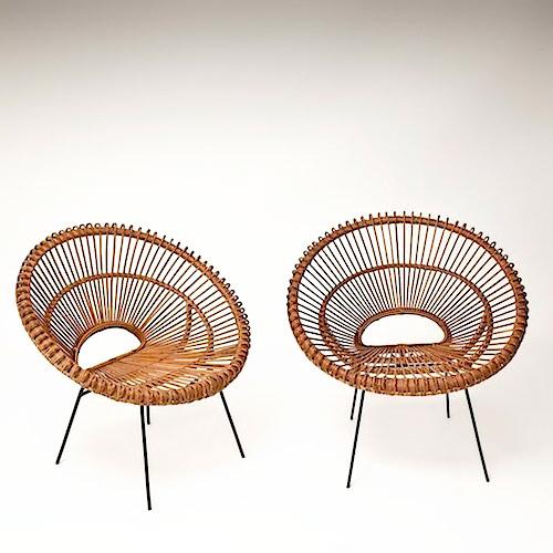 pair of rattan hoop chairs. Black Bedroom Furniture Sets. Home Design Ideas